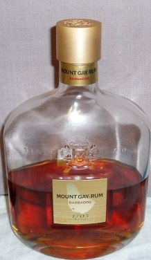 A well Sampled bottle of Mount Gay 1703