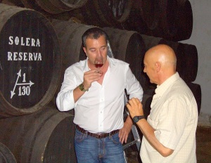 Fabio Rossi in Jerez tasting sherry for buying then the used barrels.