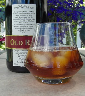 A dark 'n Stormy made with Gosling's Family reserve.